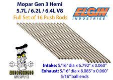 "Elgin Set of 16 Mopar Gen 3 Hemi 5.7L 6.2L 6.4L Engine Push Rods 6.792"" 8.085"""