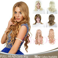 OneDor Full head Long Slight Curly Wave Stunning Wig Charming Curly Costume Wig