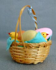 Vintage German Erzgebirge Easter Ornament Basket With Chickens And Eggs