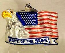 Veteran's~ Home Of The Brave Eagle Flag ~Mold Blown Glass Ornament Gift~Poland
