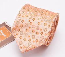 NWT $135 FUMAGALLI 1891 MILANO Slim Silk Tie Satin Orange Floral Pattern