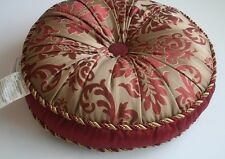 JLA HOME Tufted Gold Burgundy Round Throw Toss Pillow Rope Trim DAMASK  Lovely