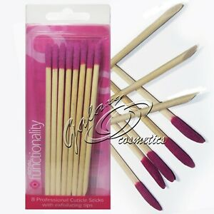 ROYAL Professional Wooden Cuticle Sticks with Exfoliating tips x 8 pieces box