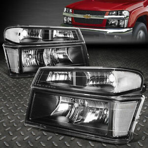 FOR 04-12 COLORADO CANYON BLACK HOUSING CLEAR CORNER HEADLIGHT BUMPER HEAD LAMP