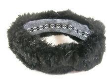 Faux Fur Headband Black Ski Ear Warmer Muff Wrap Hat