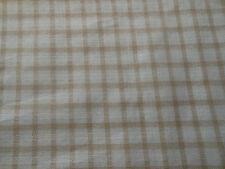 Antique Farmhouse Soft Brown Homespun Check Plaid Woven Cotton Fabric ~
