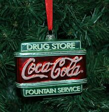 Coca Cola, Coke Blown Glass Drug Store Christmas Ornament