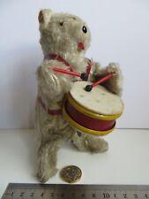 Wind Up Mechanical Clockwork Teddy Bear Toy Drumming Drummer Japan Old Vintage
