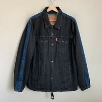 Levi Strauss Mens Trucker Jacket Black Denim Logo Blue Trim Buttons Pockets Sz L