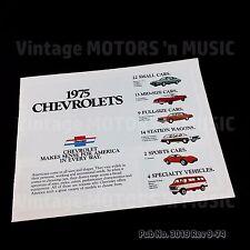 1975 Chevrolets Full Line Dealer Brochure Uncirculated NOS Vintage Pub #3019