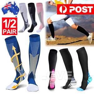 Pair Compression Socks Medical Travel Running Anti Fatigue Varicose Stockings AU