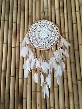 Boho Dreamcatcher Twisted Cane, Crochet with natural suede & white feathers