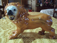 ANTIQUE STAFFORDSHIRE LION STANDING GLASS EYES