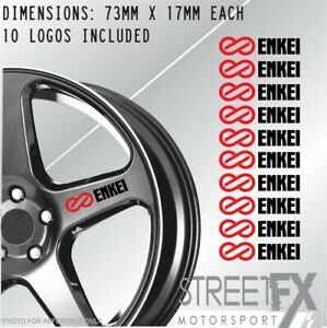 8x Enkei Red Wheel Rim Sticker Kit JDM Drift Race Car Hoon Turbo Racing Hub