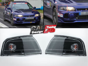 Black Smoke Lens Corner Light Lamps For 96-01 Mitsubishi Lancer Evo 4 5 6 Mirage