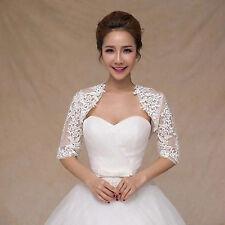 White Lace Jackets Bridemaids Bolero Wedding Evening Shrugs Shawls in Prom Gown