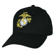 Military US Marine Corps Baseball Hat EGA White Logo Black Mens Cap Hat USA Made