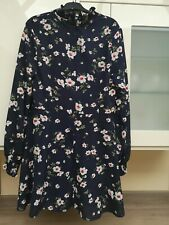 Pretty Little Thing Tea Dress/Ditsy/fit&flare High Neck Navy Floral Dress 16