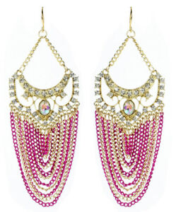 Amrita Singh Gold Crystal Elizabeth Street Fuschia Chain Earrings ERC 2027 NWT