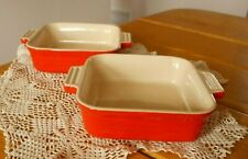 """2 Red Le Creuset Baking Dishes Casseroles ~ 11-40 ~ 7-1/4"""" X 6"""" ~ Nice!"""
