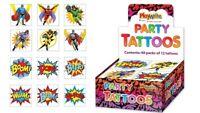 72 Super Hero Tattoos - 6 Packs Of 12 - Loot Party Bag Fillers Kids Temporary