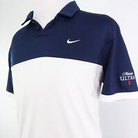 NIKE GOLF STANDARD FIT DRI-FIT MICHELOB ULTRA BEER BLUE WHITE POLO SHIRT MENS L