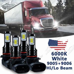 4pcs LED Headlight Bulbs Kit For International Truck Pro Star Prostar 2008-2016