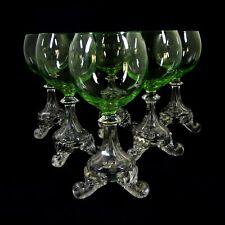 1. von 6. Weinglas auf drei Volutenfüßen mit uranhaltiger Kuppa, Böhmen um 1880