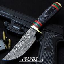 ALONZO USA CUSTOM HANDMADE DAMASCUS  HUNTING SKINNING KNIFE PAKKA WOOD 16063