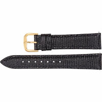Mens 20 mm Regular Black Leather Lizard Grain Padded Watch Strap Band