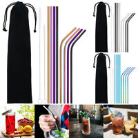 Metal Drinking Straws Reusable Stainless Steel Rubber Silicone Tips Yeti Tumbler