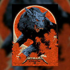 More details for metallica - of wolf and man - silk screen poster hand numbered