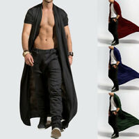 Fashion Mens Long Slim Trench Coat Thin Solid Casual Long Cardigan Outwear Top