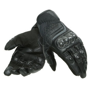 Dainese Carbon 3 Short Mens Motorcycle Motorbike Racing Leather Gloves - Black