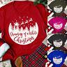 Women's Christmas Letter Printed O-Neck Short Sleeve T-Shirt Tops Blouse US HOT