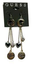 NEW GUESS Rhinestone G Heart Dangle Gold Silver Earrings Orig $35