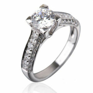 1.75 CT VS ROUND ACCENTED CERTIFIED DIAMOND 18K WHITE GOLD LADIES PROMISE RING