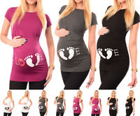 Pregnancy Maternity Footprint Print T-shirt Funny Gift Summer Pregnant Women Top