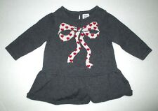 INFANT GIRLS BABY GAP GRAY & RED HEART BOW SWEATER KNIT DRESS SZ 0-3 M VALENTINE