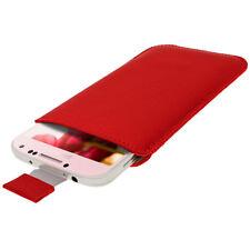 Rosso Custodia Pouch Pelle per Samsung Galaxy S4 IV I9500 Android Smartphone