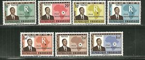 RWANDA 1, 2-8 MNH INDEPENDENCE, 1962
