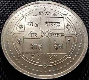 NEPAL (VS2044) AD1987 500 Rupee Silver Coin,UNC Dia 40mm(+FREE 1 coin) #D3632