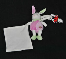 Peluche Doudou Lapin Rose Vert BABY'NAT BABYNAT Blanc Carré Mouchoir TTBE