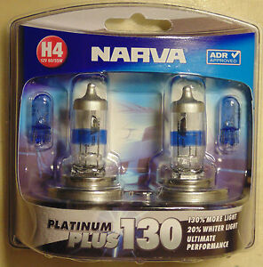 Narva Platinum Plus130 Halogen Light Globe PAIR H4 type for AE86 RX7 Holden Ford