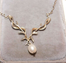 Elegant Sterling Silver 'Y' Pendant White Pearl Dangle Chain Necklace 12h 77