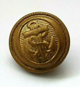 Antique Royal Naval Uniform Button - 14mm - Rope edged - Navy - Unusual