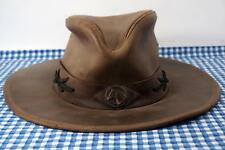 9888736cf00 Sombreros Pampa Argentina Horse Brown Leather Outback Cowboy Hat Medium M  RUGGED