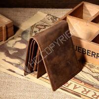 Men's Genuine Leather Cards Holder Slim Bifold Short Purse Wallet Billfold Brown