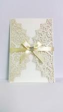 Faire part à ruban Mariage Blanc/OR avec enveloppe 20Pcs