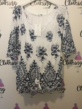 Ladies Summer Top floral Print Denim And White 3/4 Sleeve Sale Now On